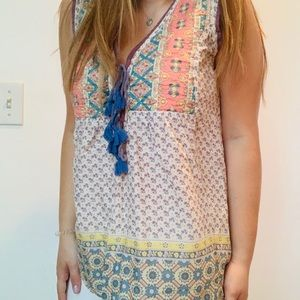 Quilted Summer Tank Top with Tastle-ties